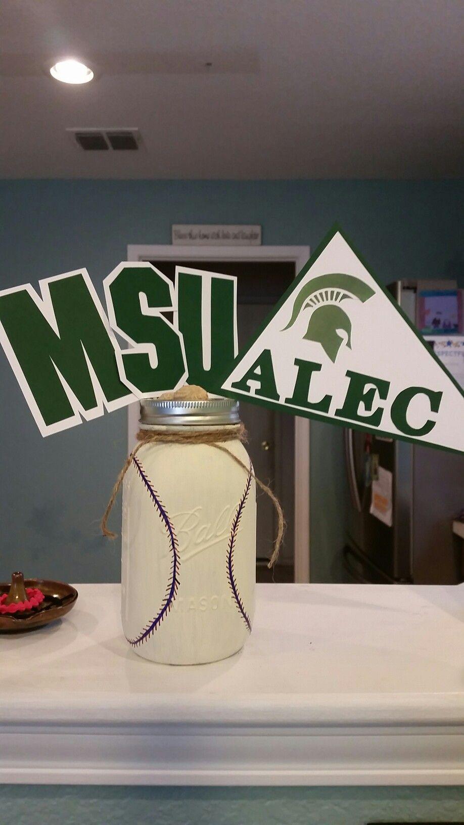 Michigan state university baseball jar centerpiece graduation