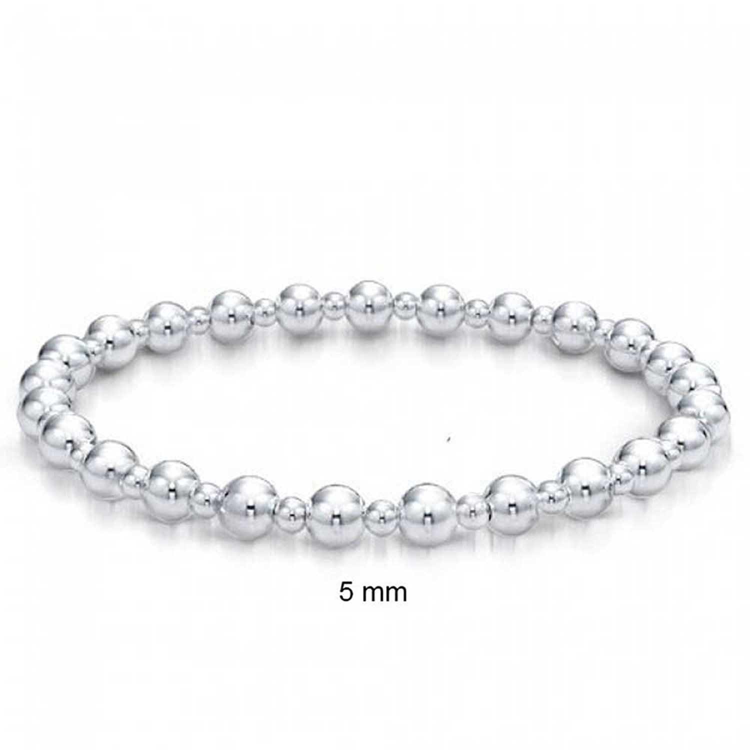 Bling jewelry sterling silver round ball bead bridal stretch