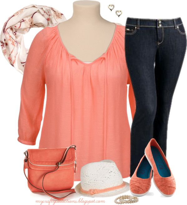 Women's Plus-Size Outfit: Think Spring! Peasant top, dark ...