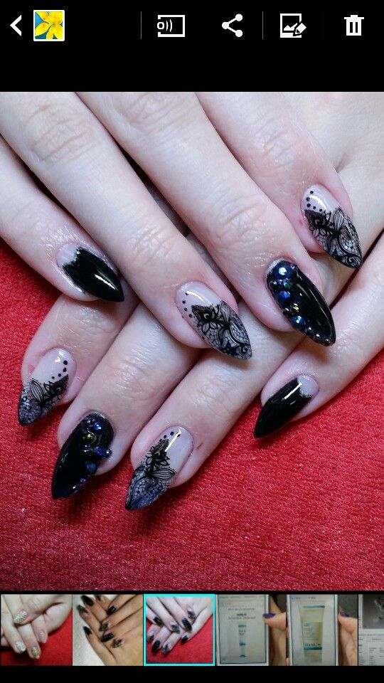 Sculpture gel nails with lace nail art. From Fortune Nails Calgary