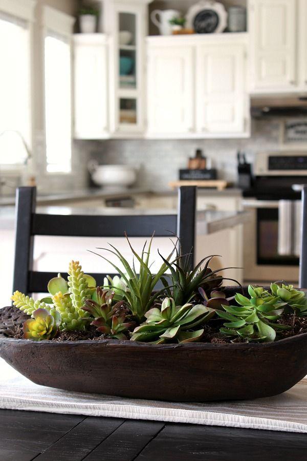 Dough Bowl Succulent Planter Clean And Scentsible Succulent Centerpiece Dining Room Succulent Centerpieces Succulent Bowls