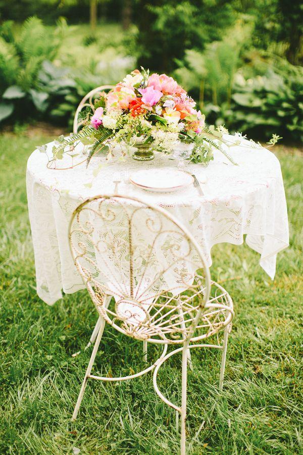 pretty garden seating http://www.weddingchicks.com/2013/10/18/colorful-garden-wedding-ideas-2/