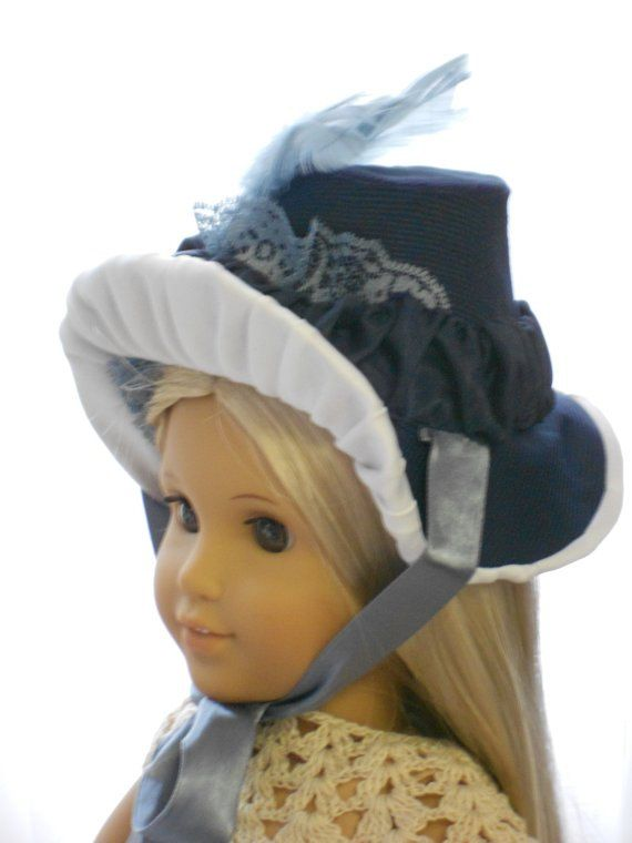 American Girl Doll Clothes - Doll Hat - Regency Bonnet - Little Girl Blue #dollhats