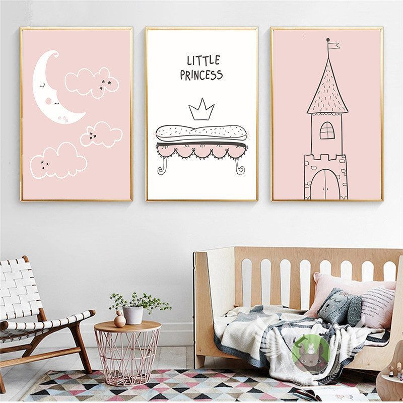 Home Decor Nordic Canvas Painting Cartoon Baby Girl Bedroom Cute Wall Art Print Kids Little Princess Poster Minimalist Picture Baby Girl Wall Decor Baby Girl Decor Girls Wall Decor