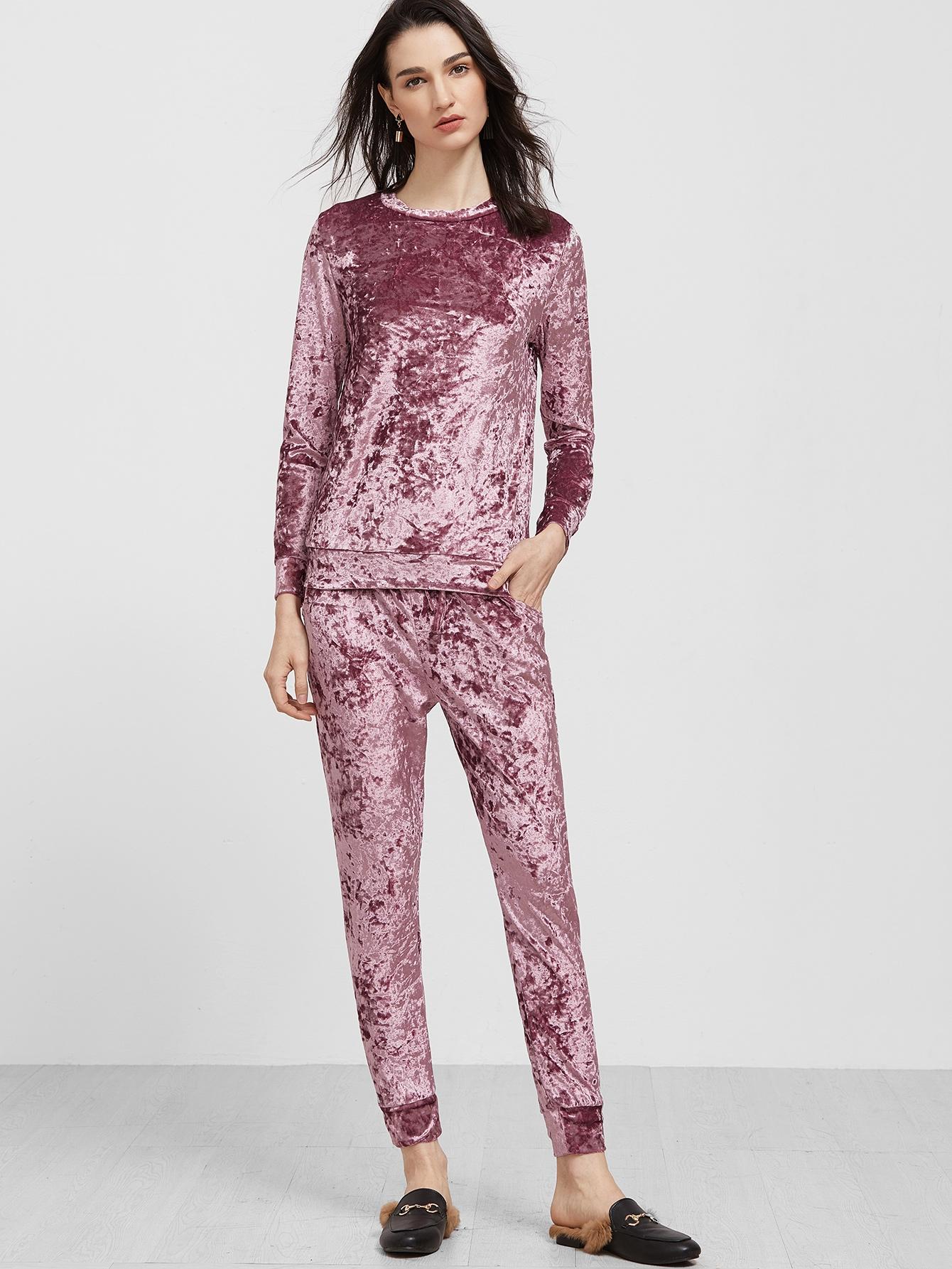 21$  Watch here - http://dieur.justgood.pw/go.php?t=16264 - Purple Long Sleeve Velvet Sweatshirt With Pants