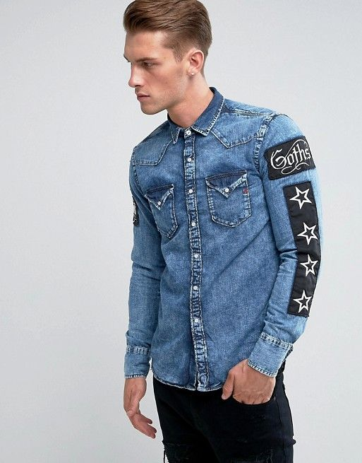f2dbad00608 Replay Regular Fit Patches Denim Shirt