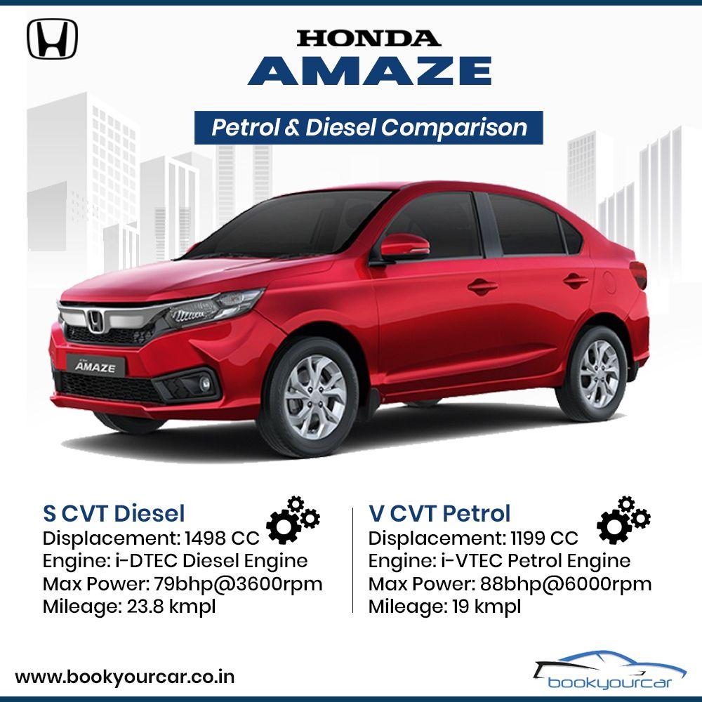 Compare Honda Amaze S CVT Diesel and V CVT Petrol