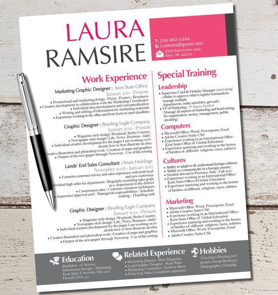 Modern Resume Design The Laura Jane Resume Modern Custom Design Template  Business
