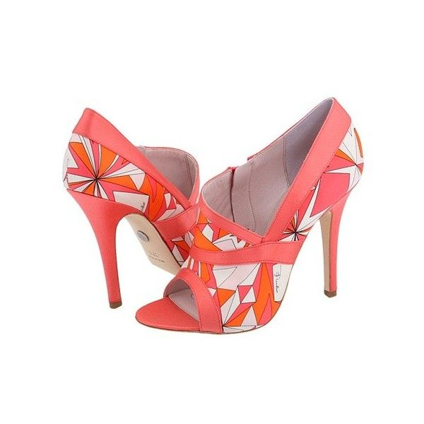 Emilio Pucci 793995 at Zappos.com ($624) ❤ liked on Polyvore featuring shoes, emilio pucci, orange, peeptoe, pink, pink peep toe shoes, orange shoes, orange peep toe shoes and emilio pucci shoes