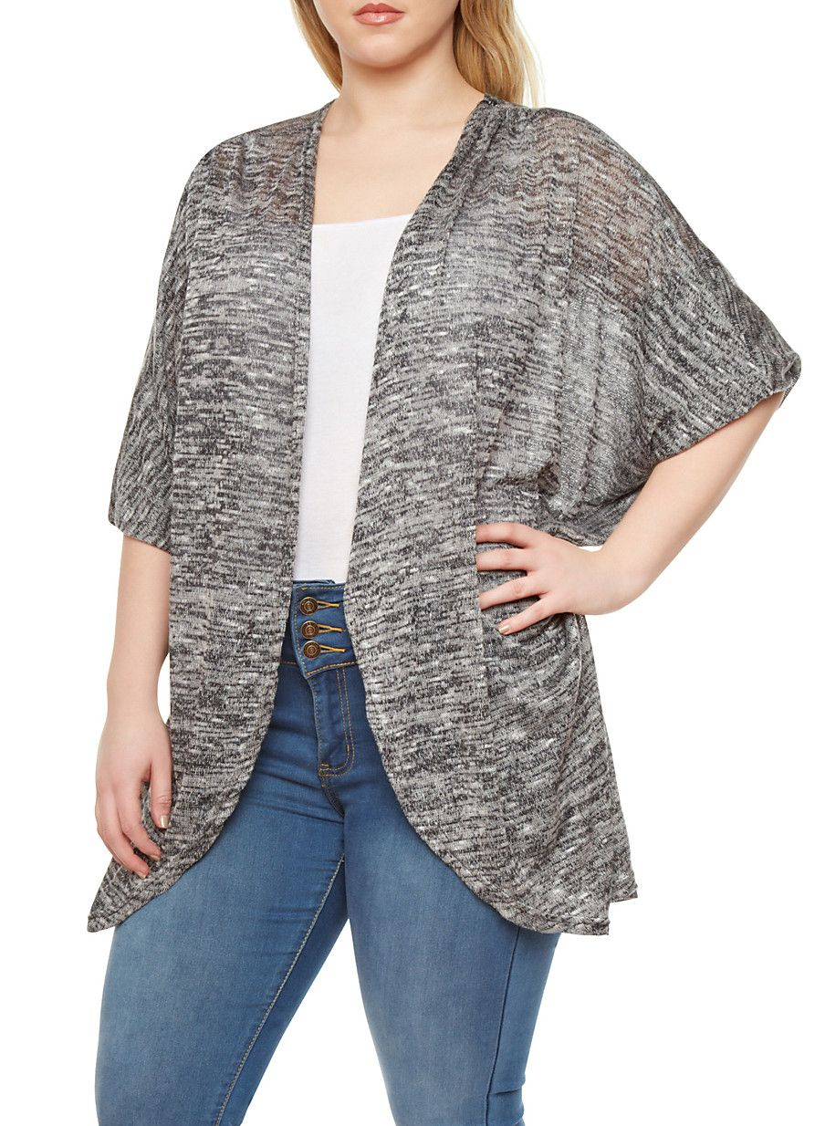 Plus Size Semi Sheer Cardigan With Open Front and Long Dolman ...