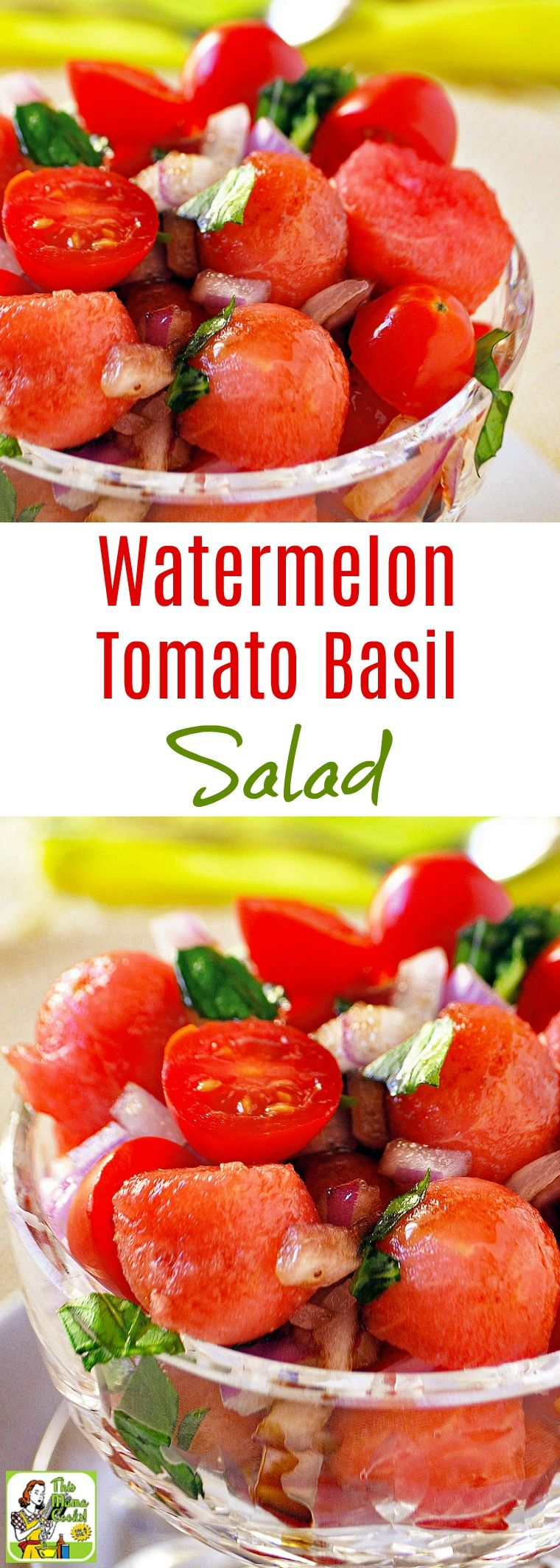 This Easy Watermelon Tomato Basil Salad recipe is ideal for summer cookouts or potlucks. Click to get this tomato basil salad recipe flavored with onions and balsamic vinegar is naturally gluten free. This easy to make watermelon and tomato salad is also vegan, vegetarian, dairy free, and can be made in 20 minutes. #melonrecipes