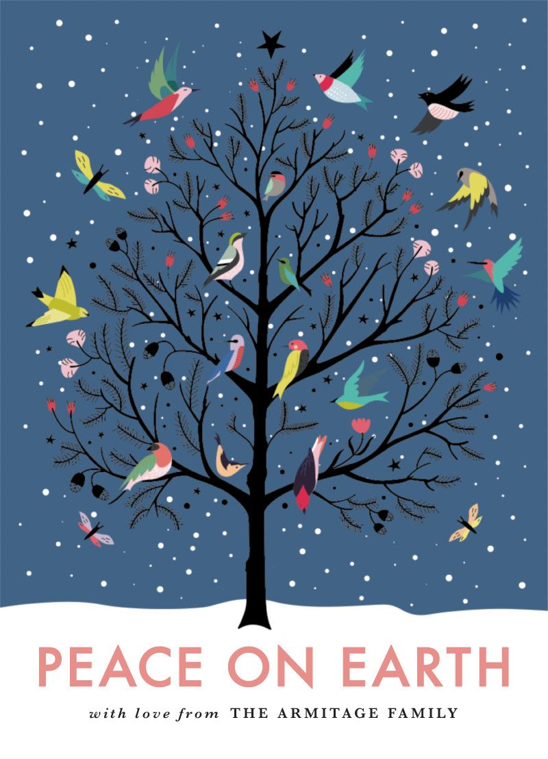 """Peace On Earth"" Christmas Holiday Greeting by Eve Schultz."