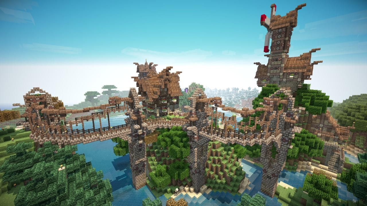 Fantasy Style minecraft house and Bridge   Minecraft ...