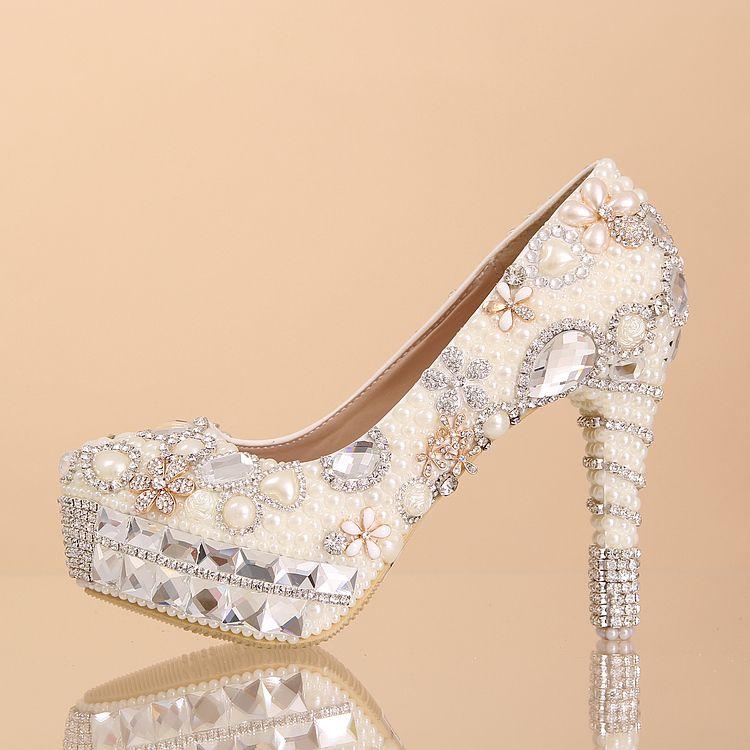 2290314f7d5 chaussures de mariée étincelante princesse à talon aiguille escarpins pas  cher incrustées perles brillantes et strass