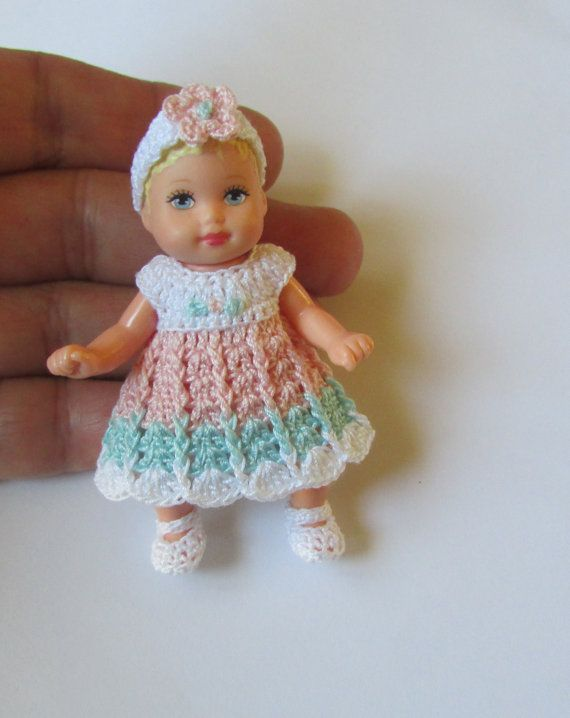 Crochet Mini Doll Clothes : Crochet Dress Set For 2 1/2 Inch BARBIE Baby by ...