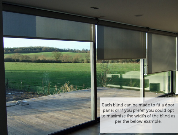 Roller Blinds Over A Set Of Modern Aluminium Doors