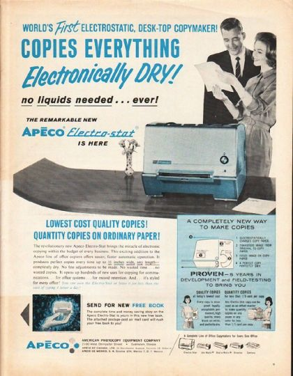 1962 Apeco Electro Stat Copier Vintage Magazine Advertisement Copies Everything World S First