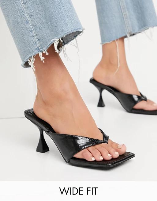 Public Desire Strappy Sandals   Ellis Wide Fit Black Pu