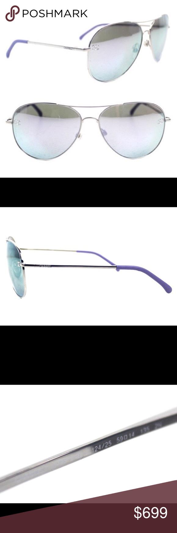 37435fa0edc Chanel Mirror Aviator Pilot Sunglasses New 4189 Authentic Chanel Purple Mirror  Aviator Pilot Sunglasses. The above Chanel sunglasses are in new condition  ...