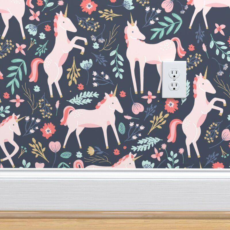 Ebern Designs Bettrys Removable Peel And Stick Wallpaper Roll Wayfair Pink Unicorn Wallpaper Unicorn Wallpaper Wallpaper