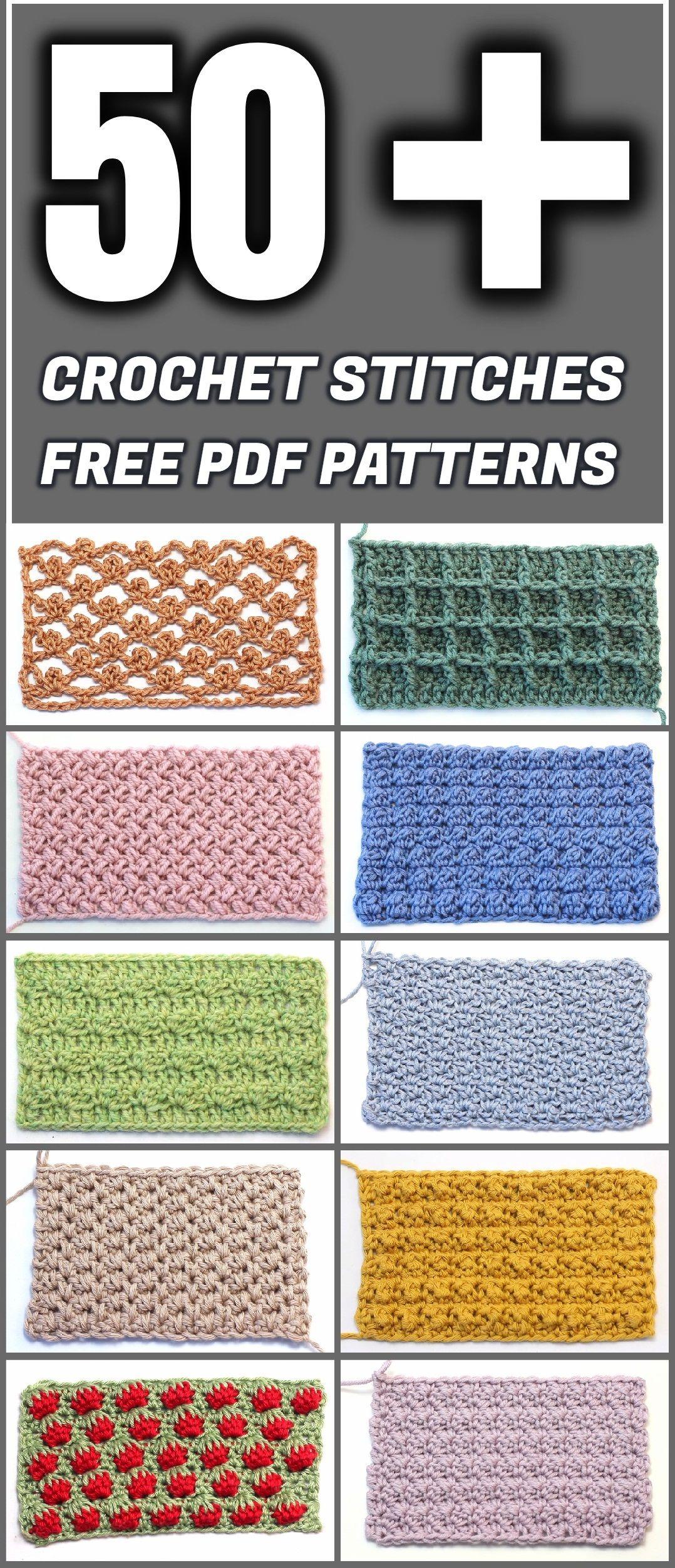 50+ Crochet Stitches Free PDF Patterns | Häkeln, Deckchen häkeln und ...
