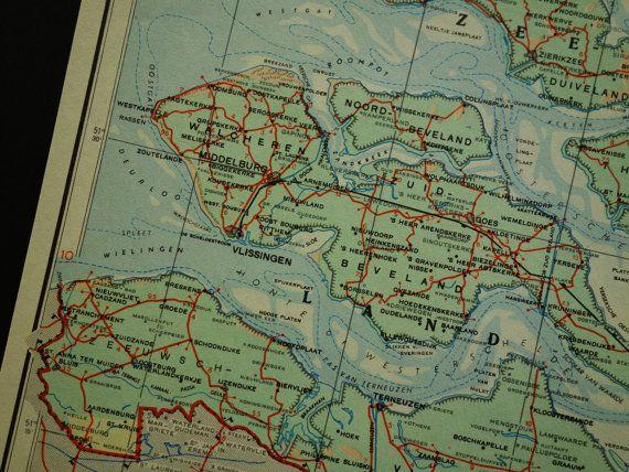 HOLLAND old map of the Netherlands large 1950 vintage poster