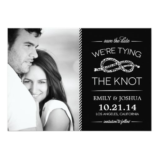 Black and White Tying the Knot Save the Date Cards