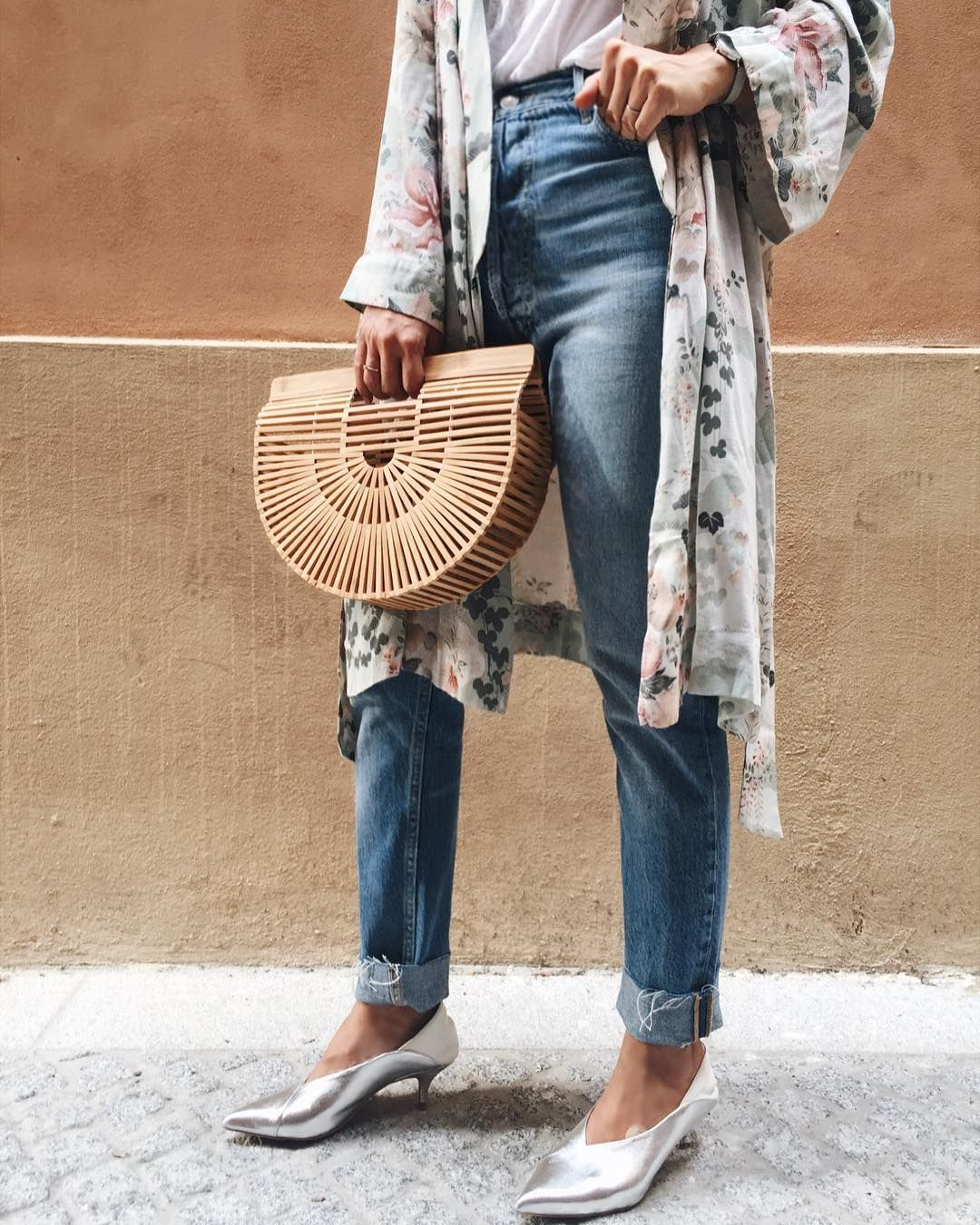 T Bag Gaia Small Shoes Jeans White Silver Denim Kimono Cult Straw vaFnwpgxq