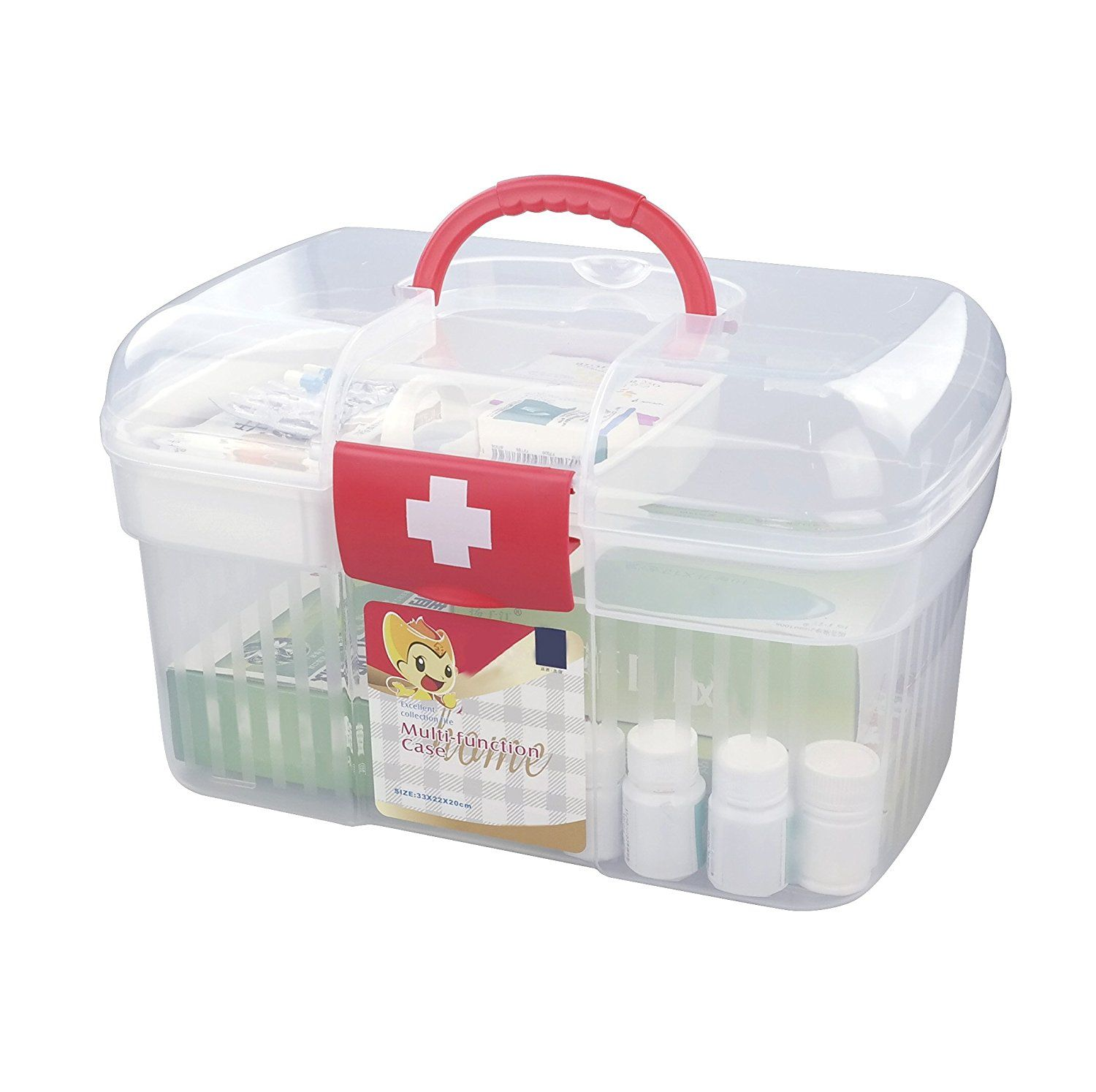 Amazon Com Anbers Home First Aid Clear Container Bin X2f Family Emergency Kit Storage Box X2f Detach With Images Family Emergency Kit Emergency Kit Family Emergency
