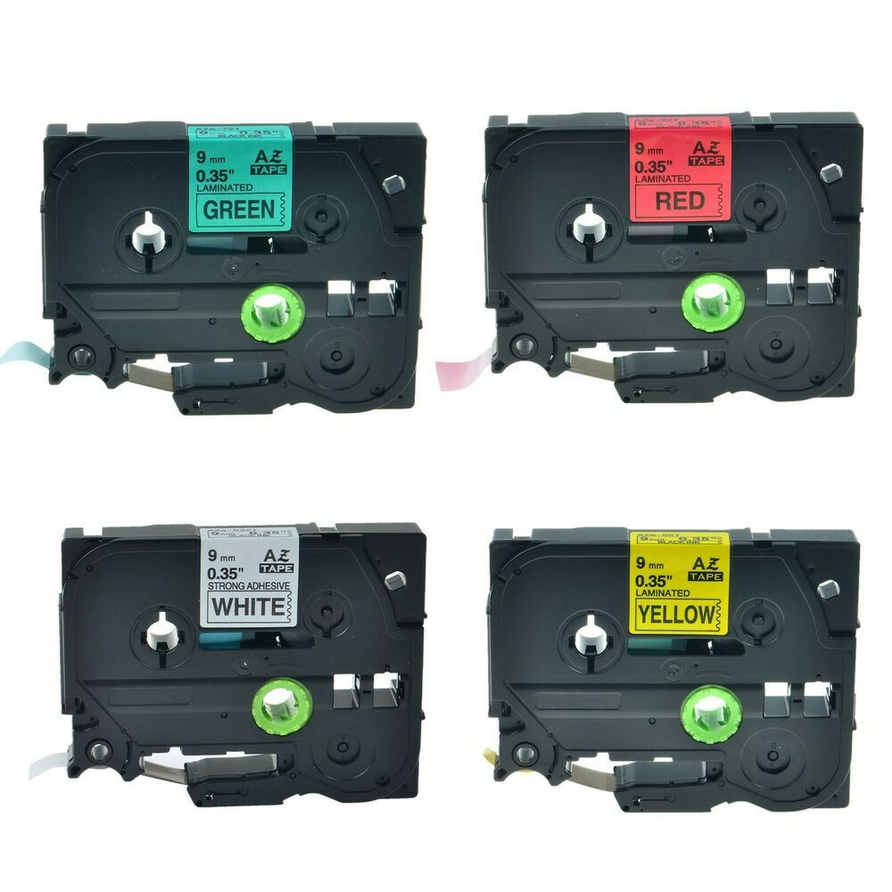 4x TZe TZ 221 421 621 721 Label Tape Black on White//Red//Yellow//Green For Brother