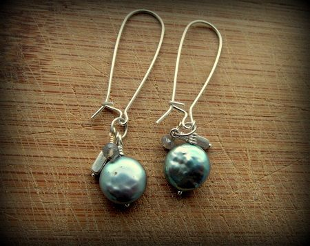 Early Morning Ocean Pearl Earrings. Sold- https://www.etsy.com/shop/SarahCaligiuri?ref=hdr_shop_menu