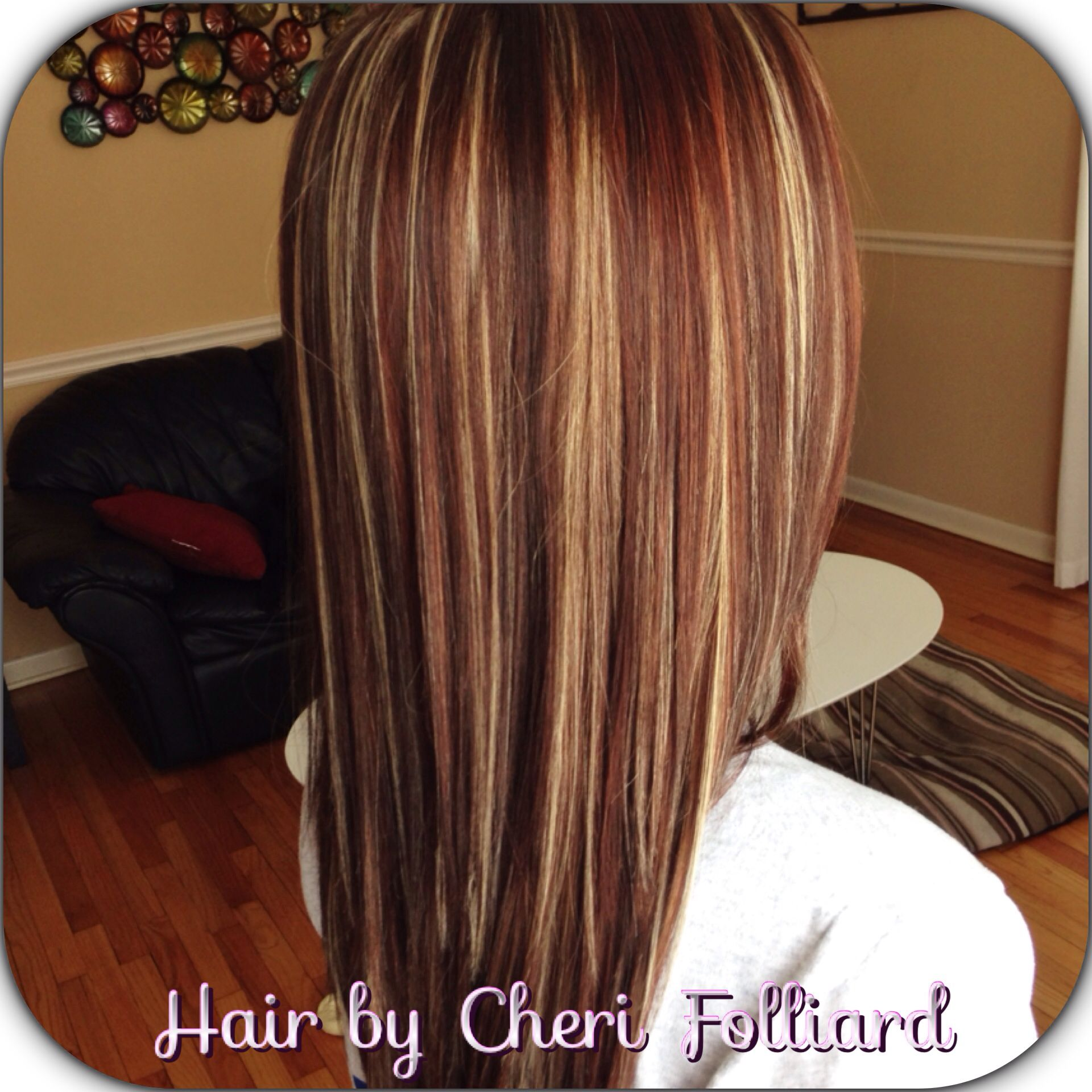 Dark brown over all color with blonde u red highlights hair