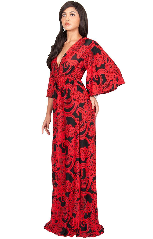 Koh koh womens long kimono sleeves vneck floral print flowy summer