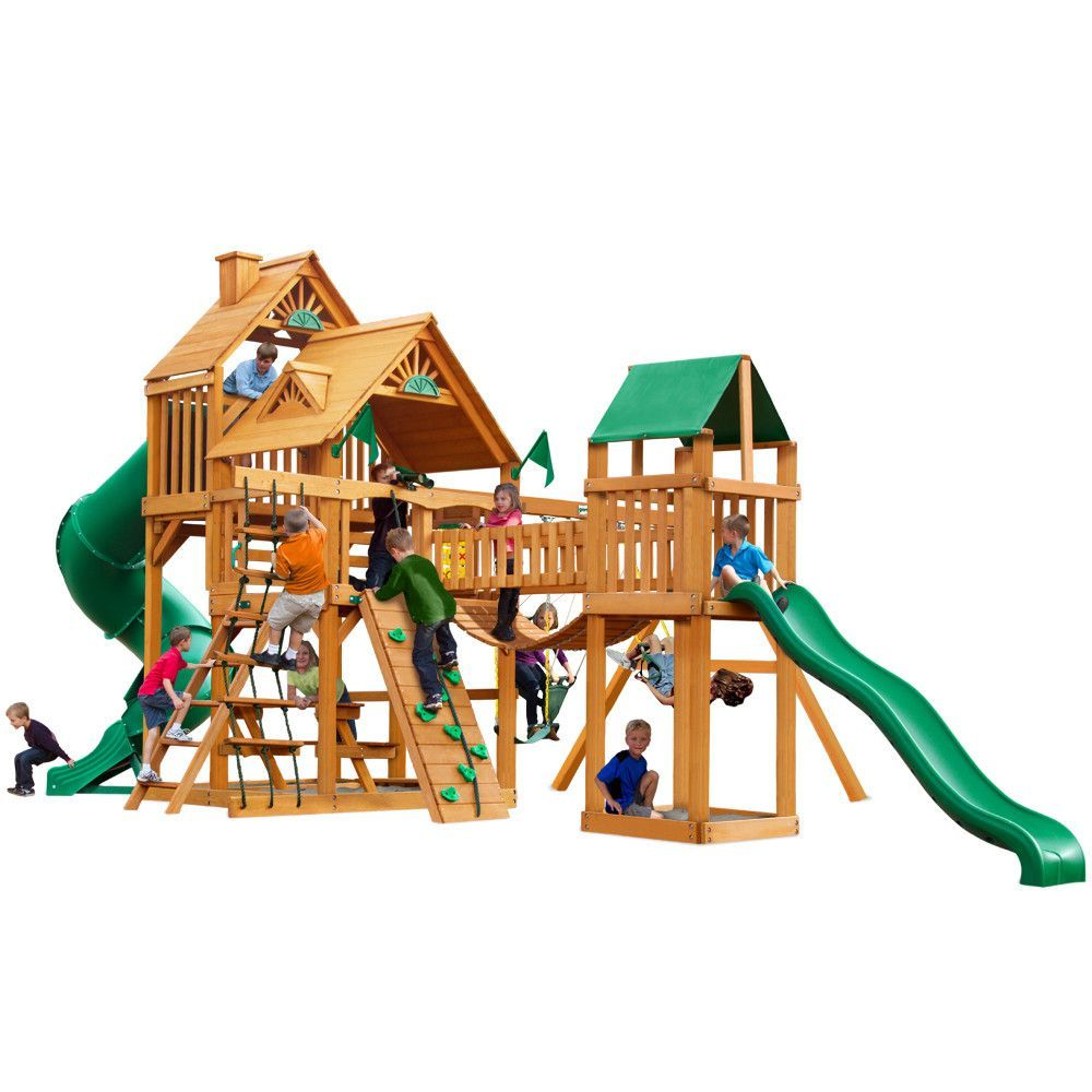 treasure trove with amber posts cedar swing set outdoor playset