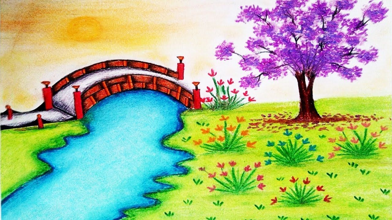 How To Draw Garden Scenery Step By Step Garden Drawing In 2020 Garden Drawing Flower Garden Drawing Landscape Drawings