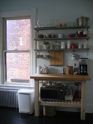 Grundtal Ikea shelf and wooden Kitchen cart