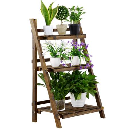 3 Tier Folding Wooden Flower Pot Stand Flower Plant Display