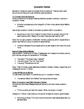 Includes notes on how to use punctuation with quotation marks. The worksheet asks students to