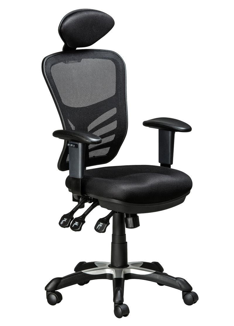 Ergonomic office chair 3 headrest black with