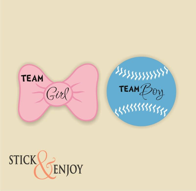 Gender Reveal Party Stickers Bow Team Girl And Baseball
