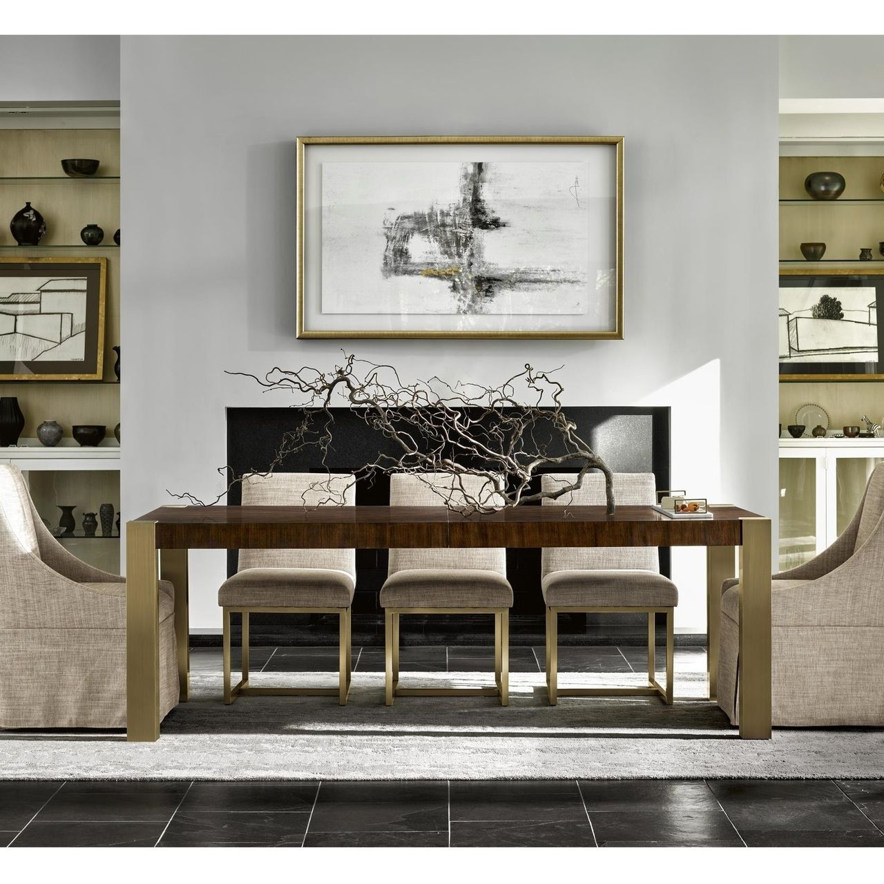 Gibson modern brushed gold mahogany extending dining table in