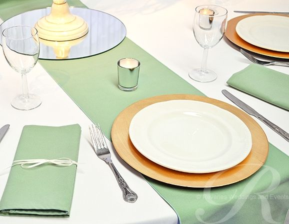 Table Runners And Napkins In Sage Green.Table Linen And Napkin Hire For  Weddings And