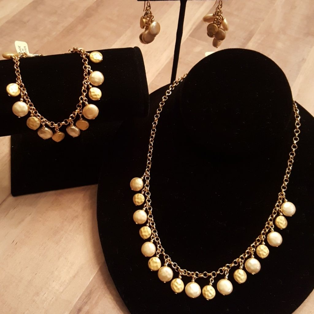 Gold Necklace Bracelet And Earrings Set Gold necklaces and Products