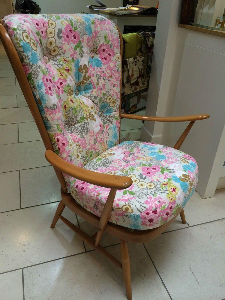 Vintage 1970s Ercol Windsor 478 High Back Wing Arm Chair - Refurbished
