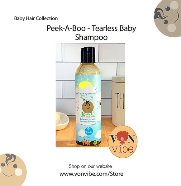 Looking for a new shampoo for your little one. Try Peek-a-Boo Tearless Shampoo! This shampoo gently cleanses your baby hair and scalp with soothing botanical. Did we mention it has #organicingredients _ _ #healthyhair #babyshampoo #shampoo #kidsshampoo #kidsconditioner #naturalhairloves #naturalhairgoals #naturalcurlyhair #vonvibe #botanicalart