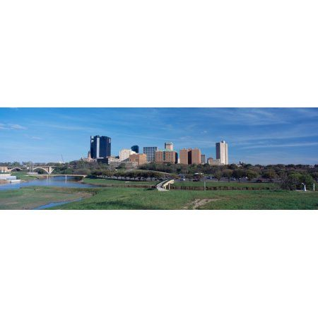 Skyscrapers in a city Fort Worth Texas USA Canvas Art - Panoramic Images (36 x 12)