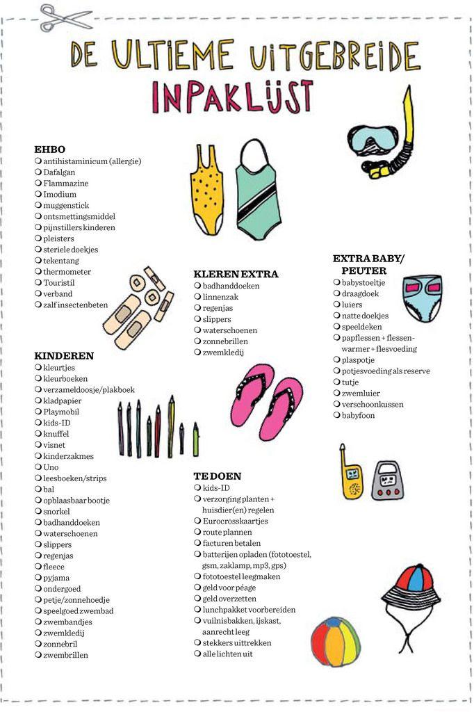 59fba1c1fbe De ultieme inpaklijst uit het vakantieboek van Madame Zsazsa Reizen  Controlelijst, Reistips, Reis Doos