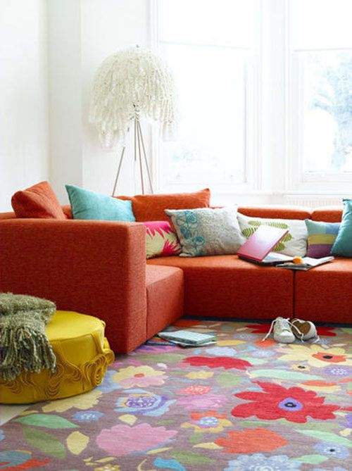 awesome decorating with an orange sofa for living room: beautiful