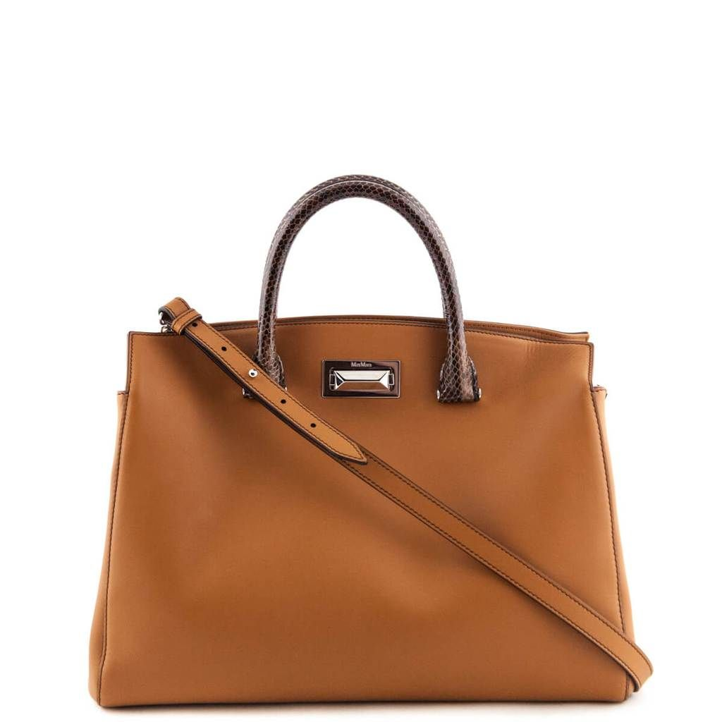 44fc97903c5 Max Mara Tobacco Calfskin New Hollywood Tote with Snakeskin Handles - LOVE  that BAG - Preowned