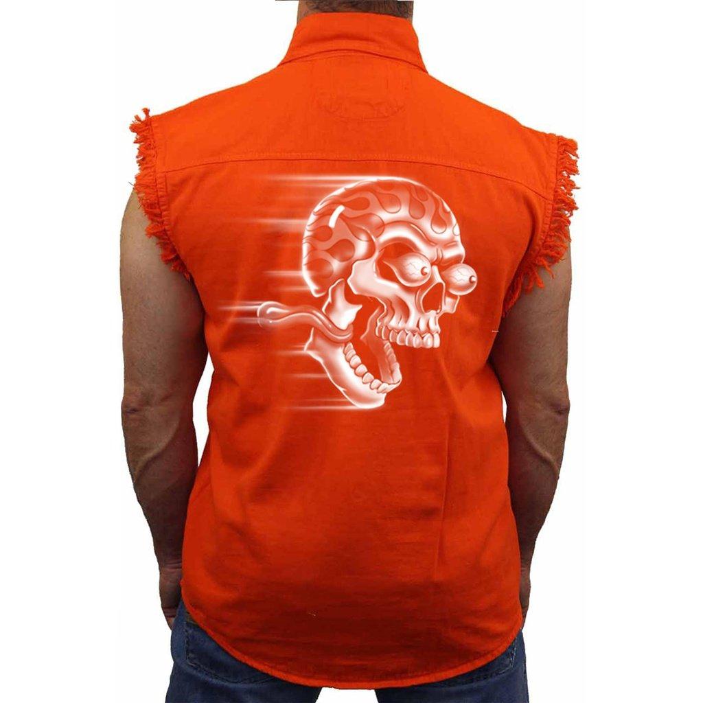 Men's Sleeveless Denim Shirt White Flame Skull Shut Up & Ride Biker
